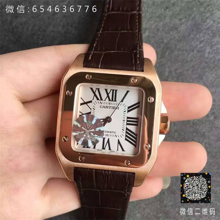 【V6厂超A】卡地亚山度士系列中号全玫金女士一比一复刻手表
