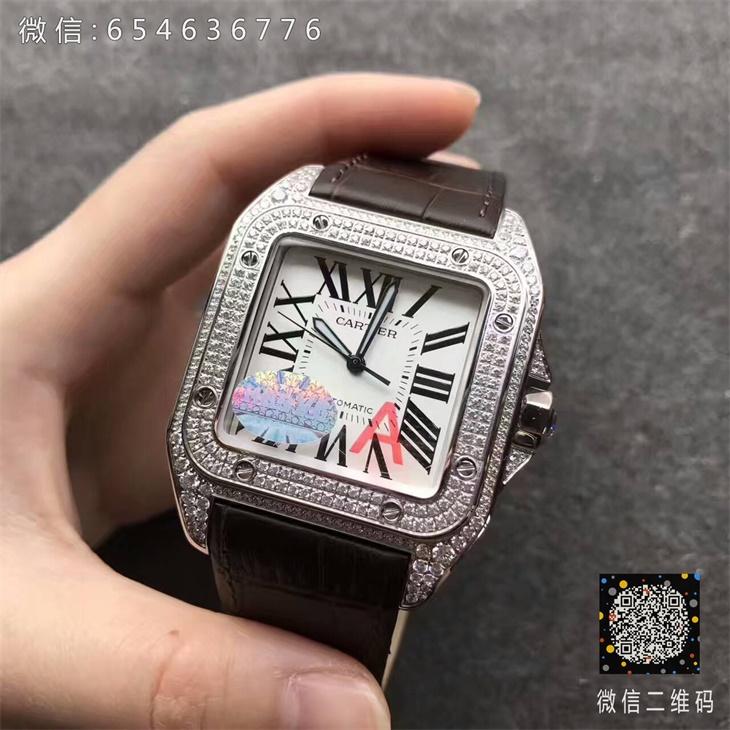 【V6厂超A】卡地亚山度士大号满钻男士一比一复刻手表