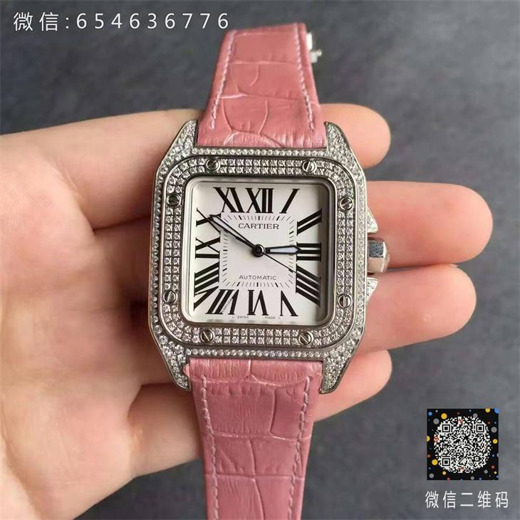 【V6厂超A】卡地亚山度士系列中号满钻女士一比一复刻手表