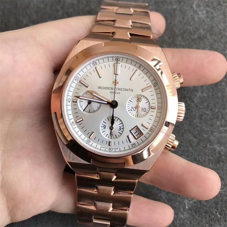 【8F厂】江诗丹顿VC纵横四海计时系列金壳白面钢带一比一精仿手表