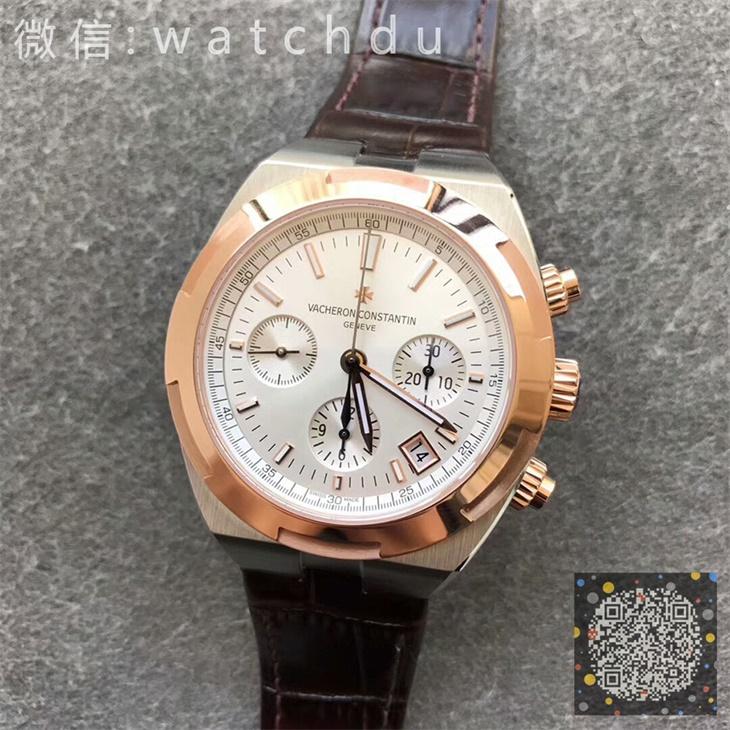 【8F厂】江诗丹顿VC纵横四海计时系列间金白面皮带版一比一精仿手表