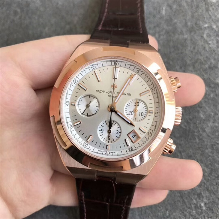 【8F厂】江诗丹顿VC纵横四海计时系列金壳白面皮带版一比一精仿手表
